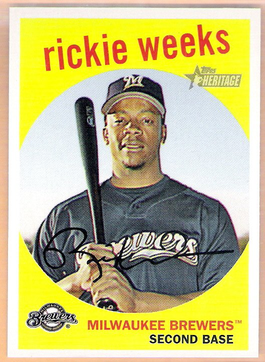RICKIE WEEKS 2008 Topps Heritage Black Back Insert Card #186 Milwaukee Brewers FREE SHIPPING