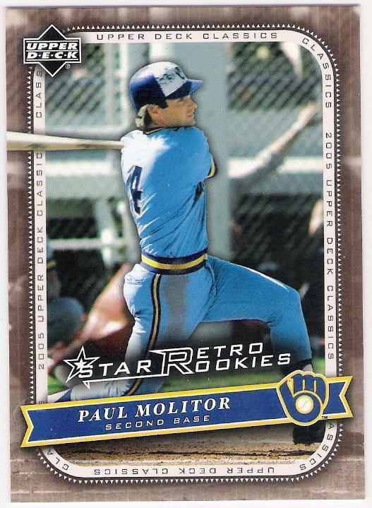 PAUL MOLITOR 2005 Upper Deck Classics Star Retro Rookies SHORT PRINT # 123 Milwaukee Brewers