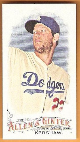 CLAYTON KERSHAW 2016 Topps Allen & Ginter Mini INSERT Card #299 LOS ANGELES DODGERS Baseball 299