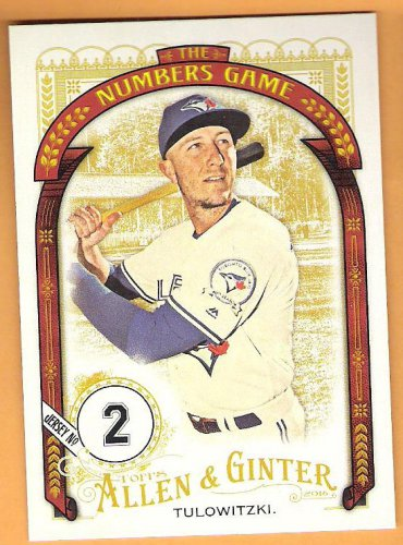 TROY TULOWITZKI 2016 Topps Allen & Ginter Numbers Game INSERT Baseball Card #NG-32 TORONTO BLUE JAYS