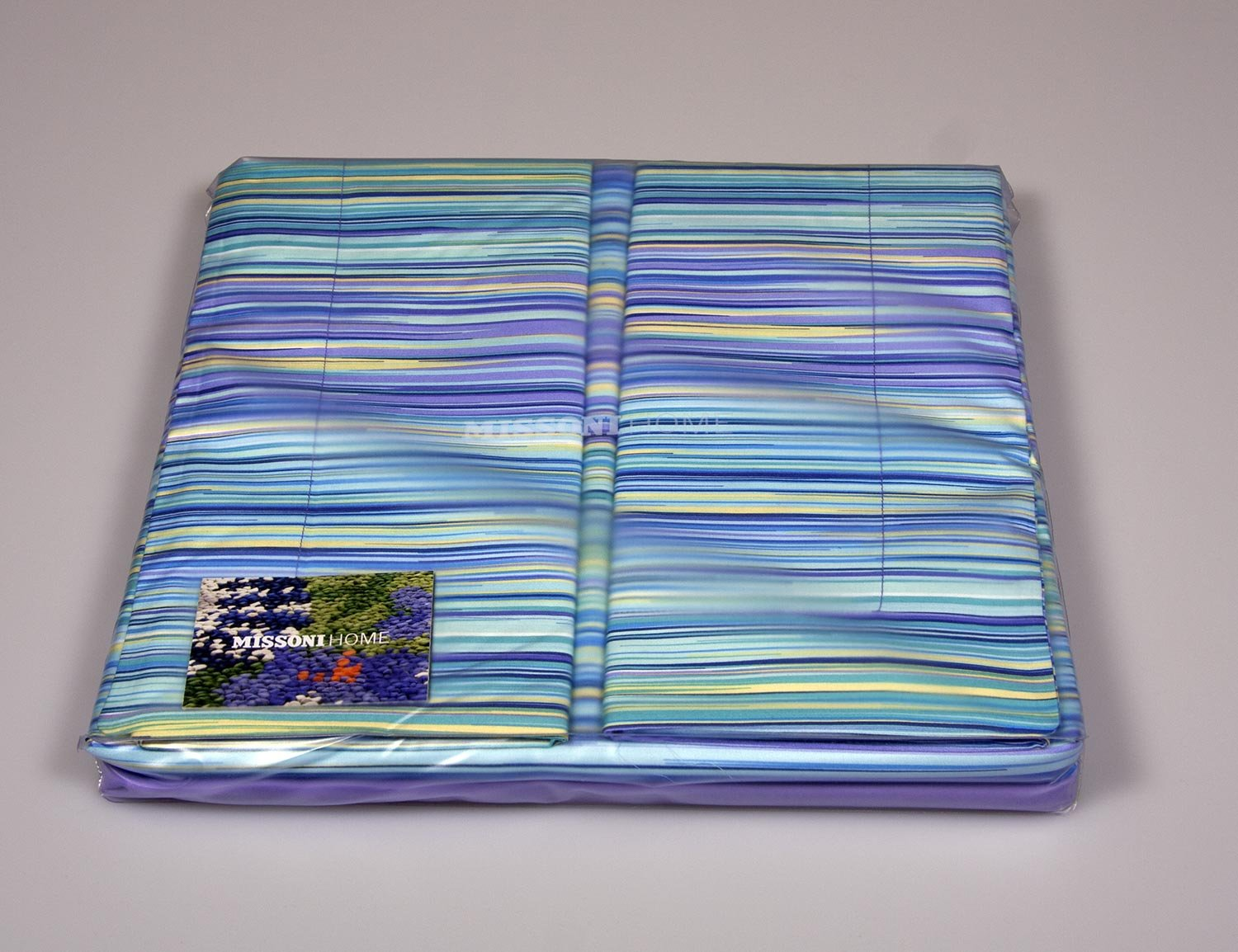 Modern striped bedding set Missoni Home turquoise and purple 170