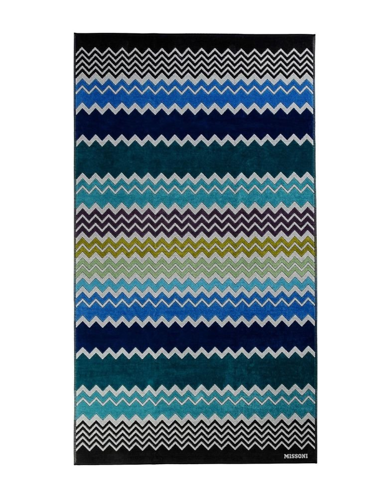 Beach towel Missoni Home 2015 Rufus 170 chevron blue and green