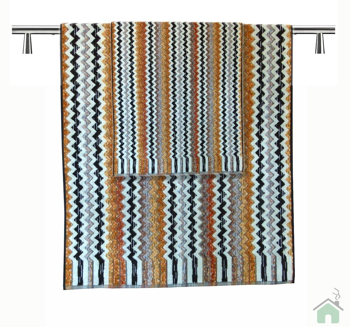 Zigzag Pattern Neutral Bathroom Towel Stripped Set Bath Towels Sheet Washcloth