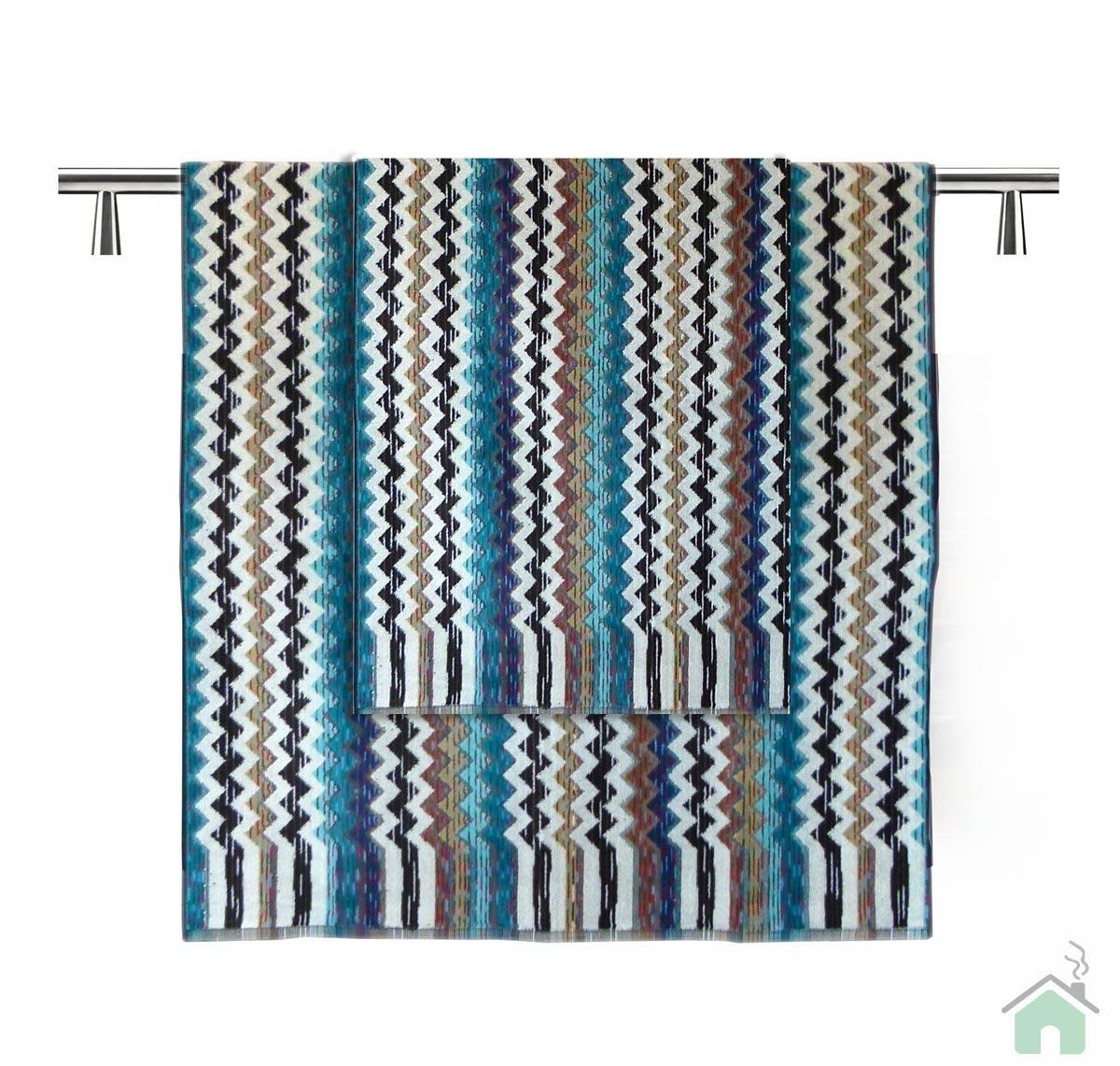 Missoni Bath Towels 5 Piece Bathroom Blue Strip Design Pattern Shower