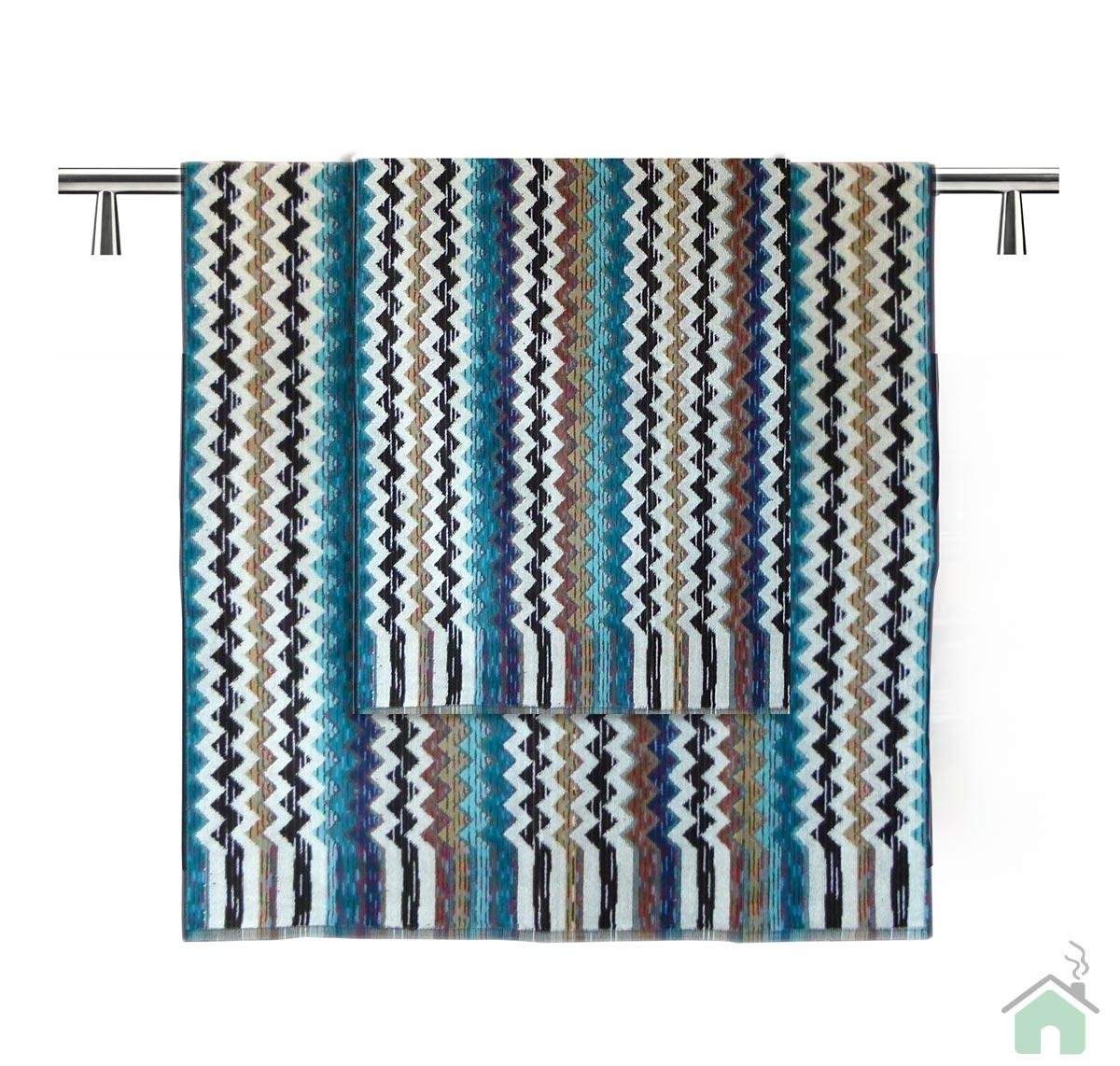 Bath Towels 5 Piece Bathroom Blue Strip Design Pattern Shower Towel Washcloth