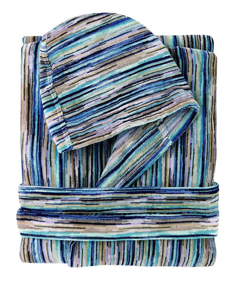 Missoni Home Bath robe with hood RONAN var. 170 on shades of blue
