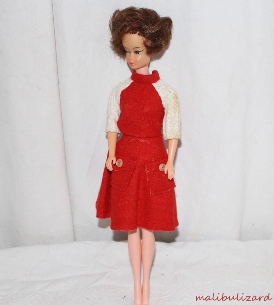 VINTAGE BARBIE CLONE DRESS JUMPER STYLE RED FELT WHITE KKNIT 1960s