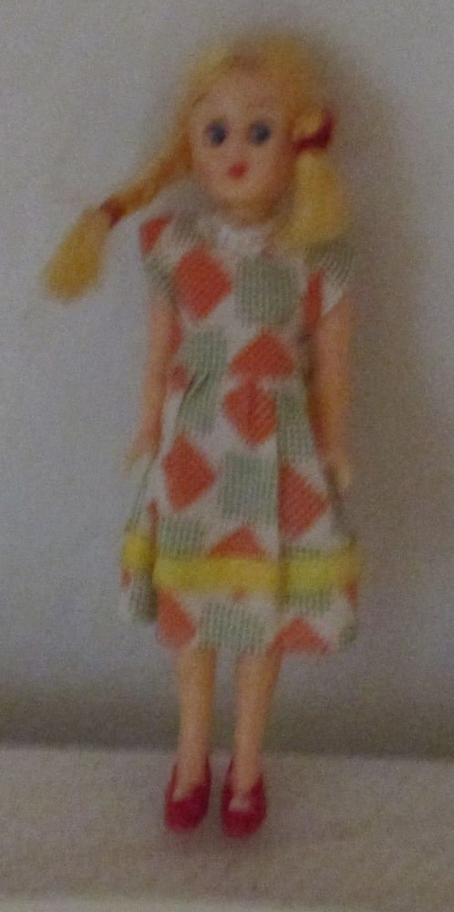 "VINTAGE 6"" DOLLHOUSE DOLL.  PLASTIC MOLDED SHOES CLOTH DRESS"