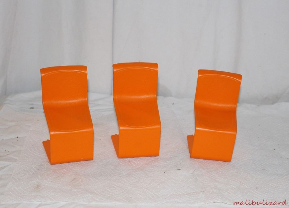 3 Vintage Barbie Orange Stacking Chairs for Barbie's Townhouse