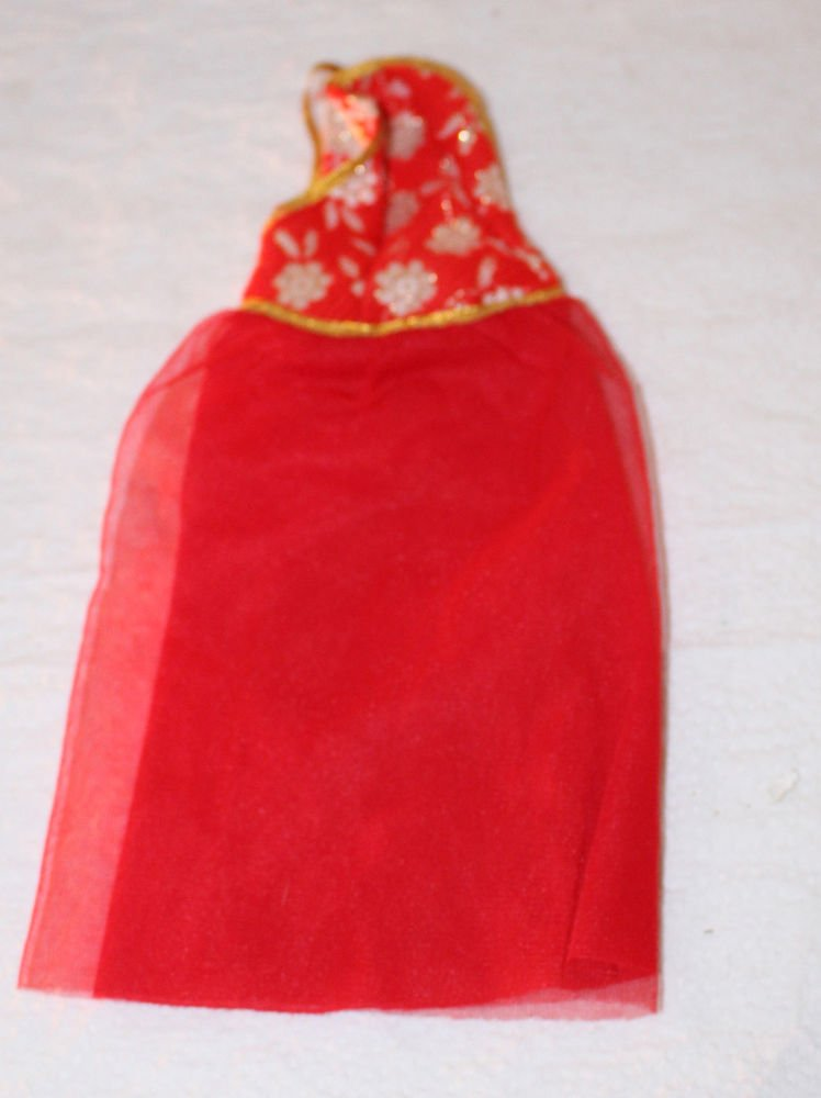 Vintage Best Buy Superstar Barbie Dress Red Gown with Gold Floral Brocade