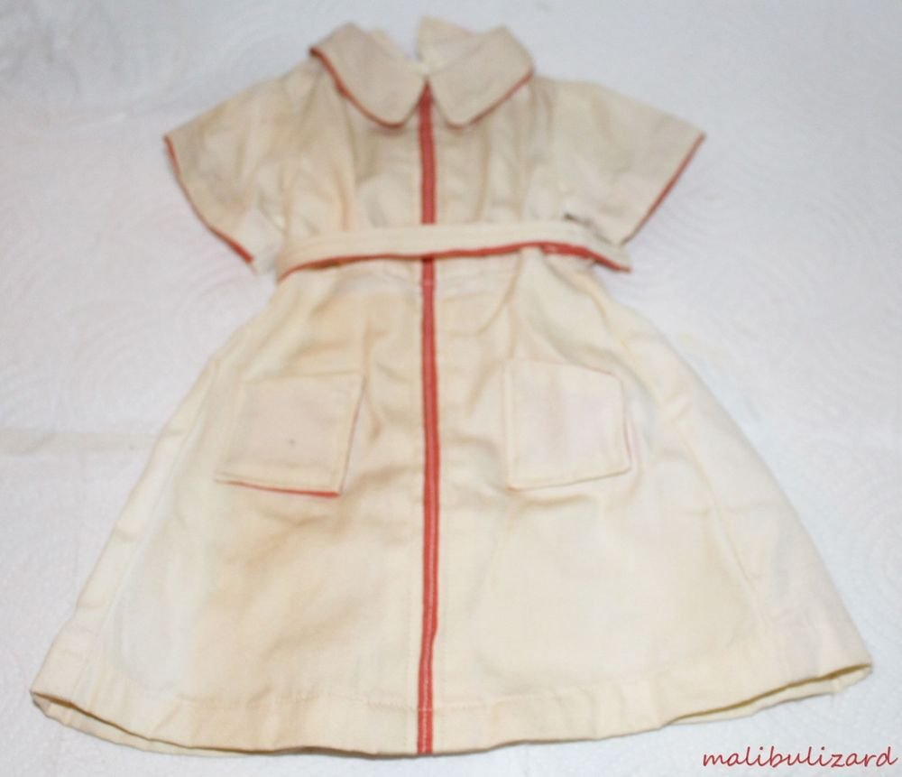 VINTAGE 1940s DOLL DRESS WHITE SHIRTWAIST DRESS WITH RED TRIM