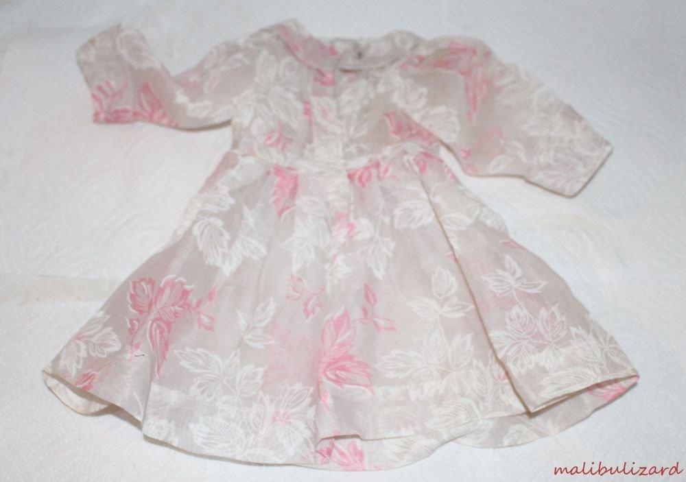 VINTAGE 1940s DOLL DRESS SHEAR WHITE & PINK FLORAL SHIRTWAIST DRESS + SLIP