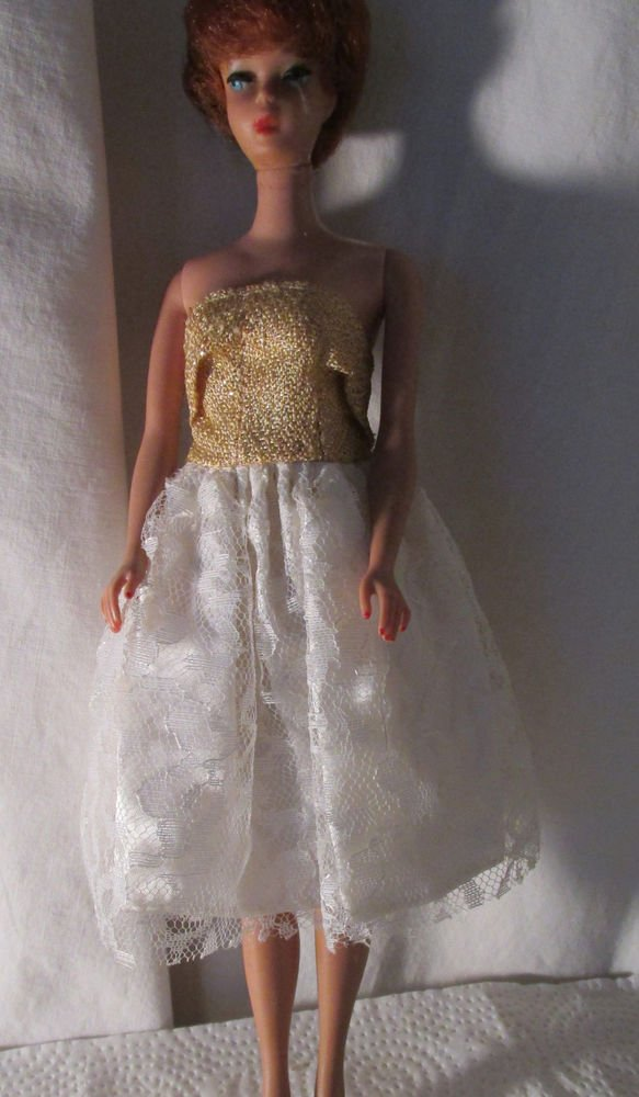 VINTAGE BARBIE CLONE GOLD LAME AND WHITE LACE DRESS FREE SHIPPING