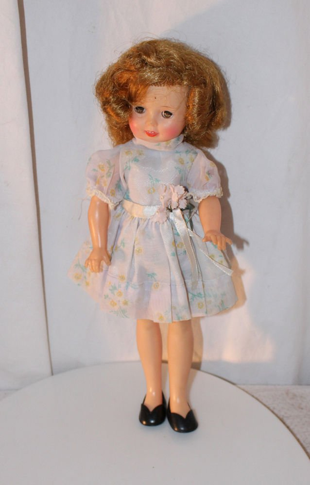 "Vintage 12"" 1950s Vinyl Shirley Temple Doll Dressed in Party Dress"