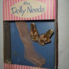 VINTAGE TOTSY MY DOLLY NEEDS GOLD SHOES & HOSE FOR HIGH HEELED FASHION DOLLS