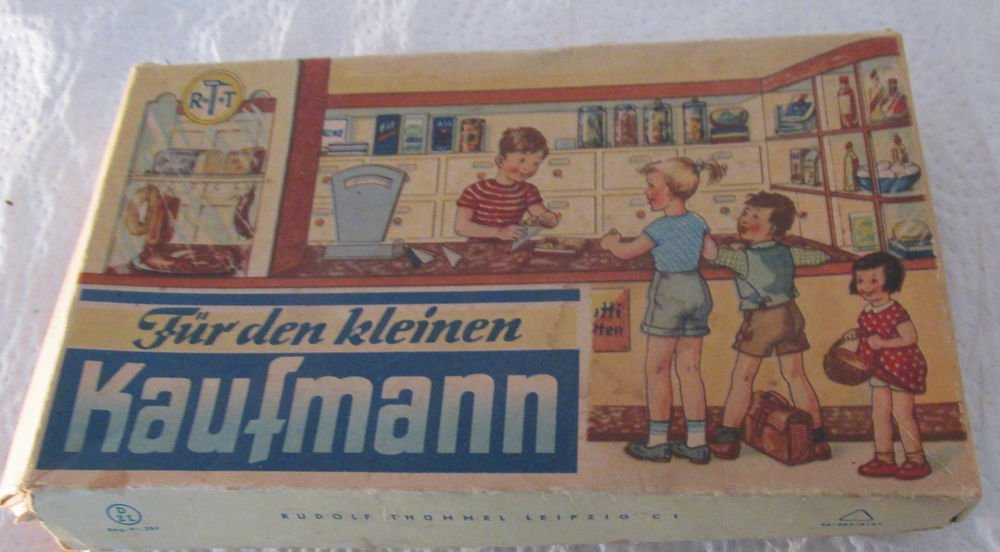 VINTAGE TOY GENERAL STORE PLAY SET FOOD ACCESSORIES OB WRITTEN IN GERMAN