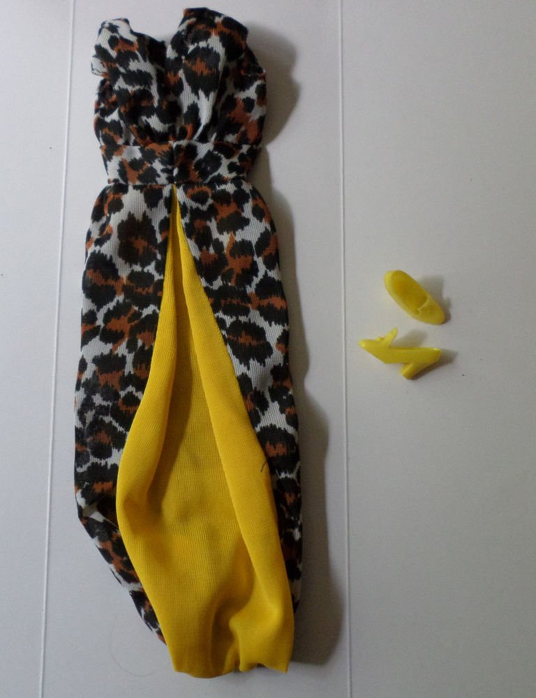 VINTAGE BARBIE LEISURE LEOPARD #1479 LEOPARD DRESS  AND PILGRIM SHOES