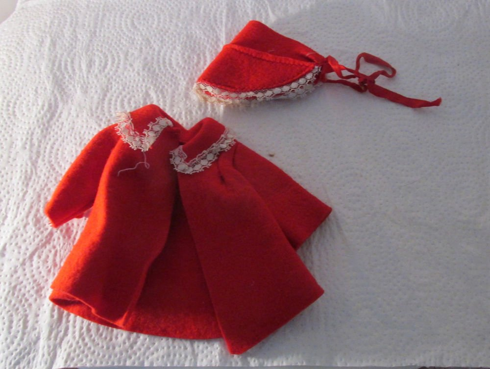 VINTAGE RED COAT AND HAT FOR A SMALL DOLL LACE TRIM