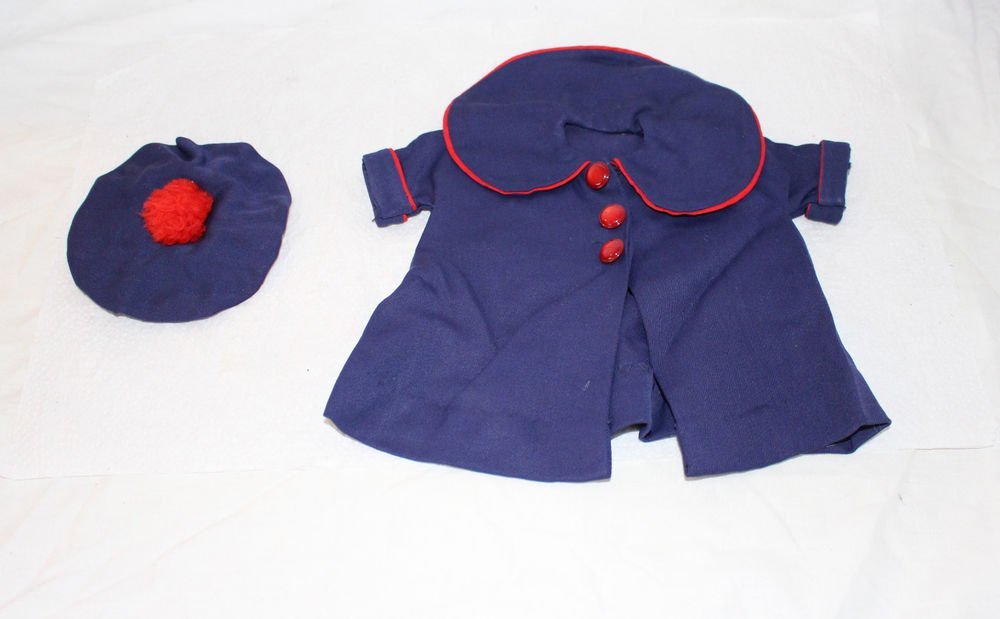 Vintage 1940s/50s Navy Blue Doll Coat + Round Hat Tam Red Trim and Buttons