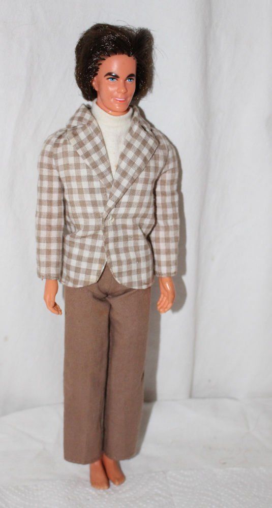 Vintage Mod Ken in Brown Checked Coat, Dicky and Brown Slacks