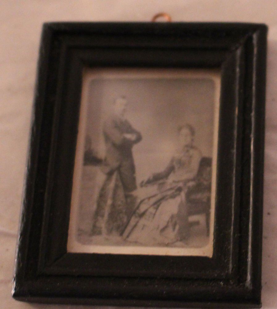 VINTAGE DOLLHOUSE FRAMED PRINT VICTORIAN MAN AND WOMAN