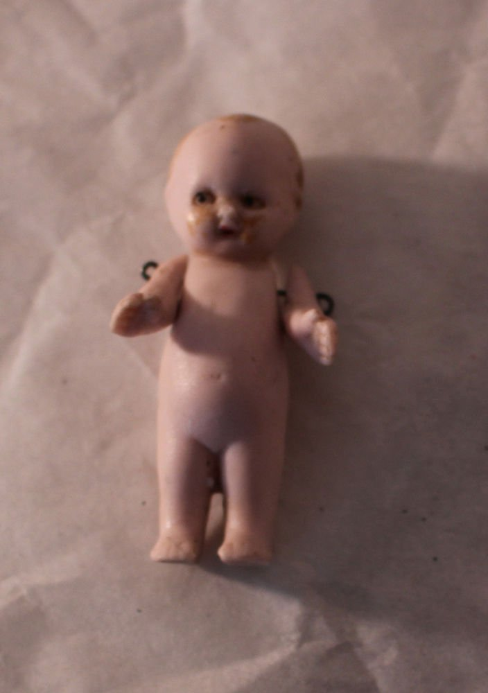 """Vintage Bisque Frozen Charlotte 2"""" Dollhouse Miniature Doll Painted Eyes & Hair"""
