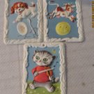 3 MOLDED PLASTIC HEY DIDDLE DIDDLE NURSERY RHYME FRAMED PICTURES IN FRAMES CUTE