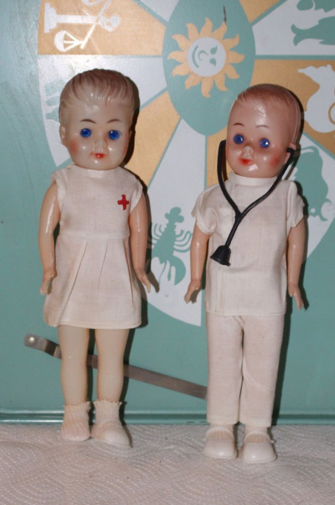 """Pair of Molded Plastic Dolls Doctor and Nurse 9-1/2"""" Tall"""