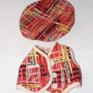 Vintage Doll Clothes Mid-Century Modern 1950s Abstract Redl Plaid Baret and Vest