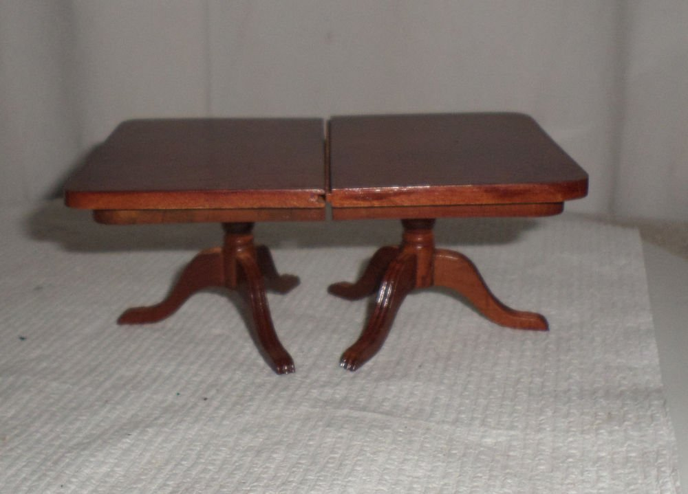 VINTAGE STYLE DOLLHOUSE DOUBLE PEDESTAL WOODEN TABLE AND LEAF