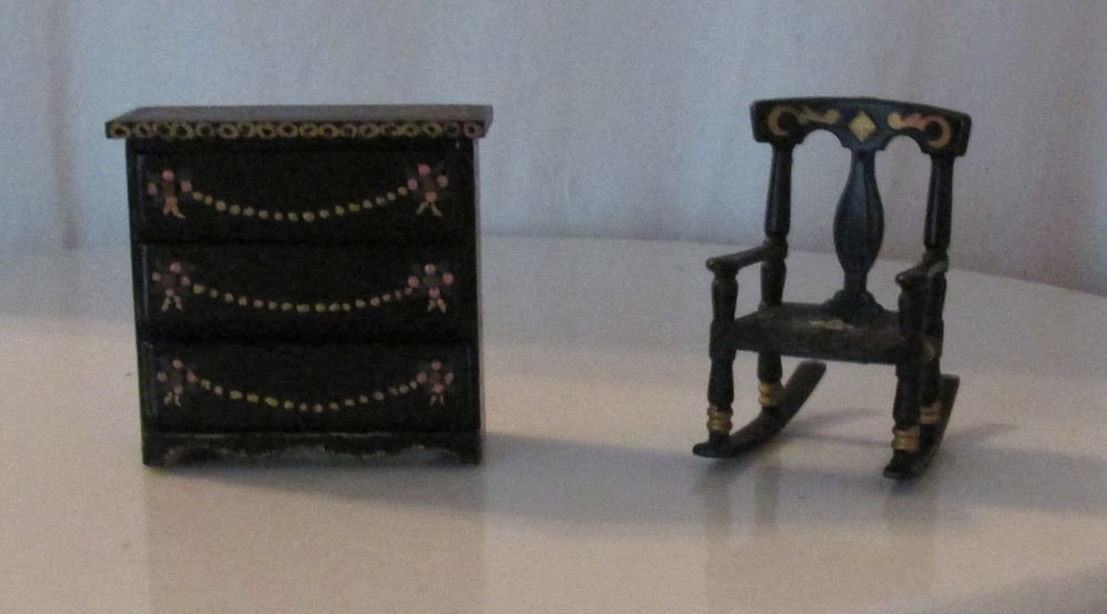 DOLLHOUSE FURNITURE TOLE PAINTED NICELY DONE ROCKING CHAIR 3 DRAWER CHEST