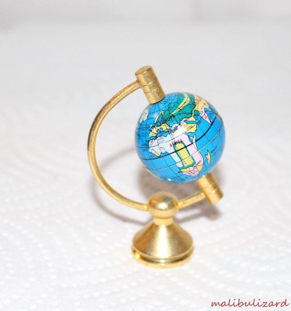 DOLLHOUSE MINI WORLD GLOBE ON STAND