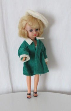 VINTAGE GREEN COAT AND HAT FITS COSMOPOLITAN MISS GINGER FREE SHIPPING CUTE