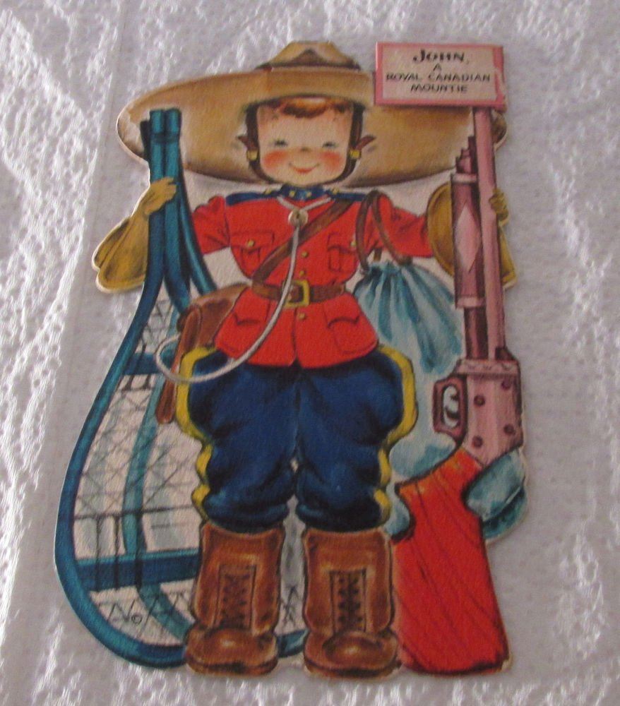 VINTAGE HALLMARK DOLLS OF THE WORLD GREETING CARD JOHN CANADIAN MOUTIE UNUSED FS