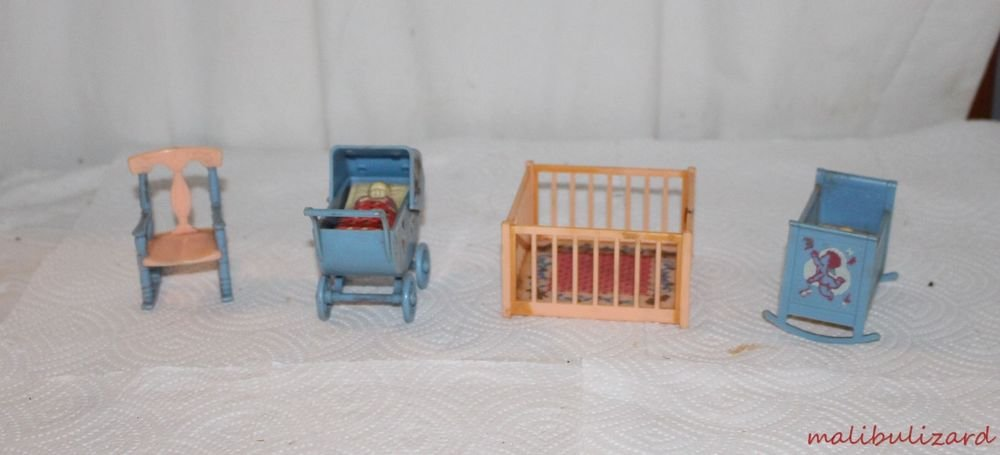 Vintage Dollhouse Nursery Furniture Renwal Rocking Crib, Carriage Playpen Cats
