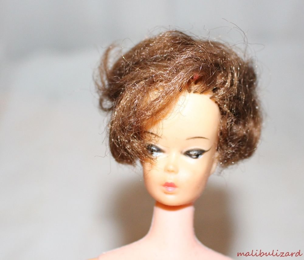 Vintage Barbie Clone Reddish Hair Side Sweep or Part Bubble Cut