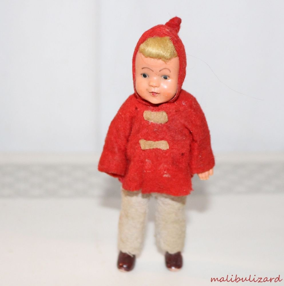 "Vintage Dollhouse Boy Doll Felt Jacket and Pants Painted Shoes 4-1/4"" H"