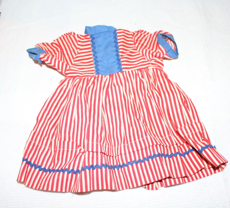 "VINTAGE RED WHITE & BLUE DOLL DRESS 1940s/50s 9"" l"
