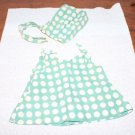 "Vintage Doll Dress + Hat Fits Patsy  Grey Blue Large Dots Homemade 5-3/4"" Long"
