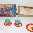 1930s Bunny Birthday Tea Set Fern Bisel Peat Partial + Box Unused