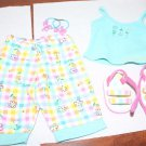 American Girl Floral Plaid Pastel Outfit Sandals