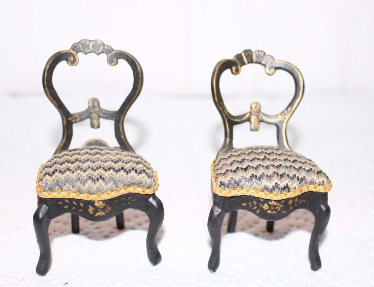 Dollhouse Miniatures Victorian Beidermeier Chairs Pair Artisan Painted Gold