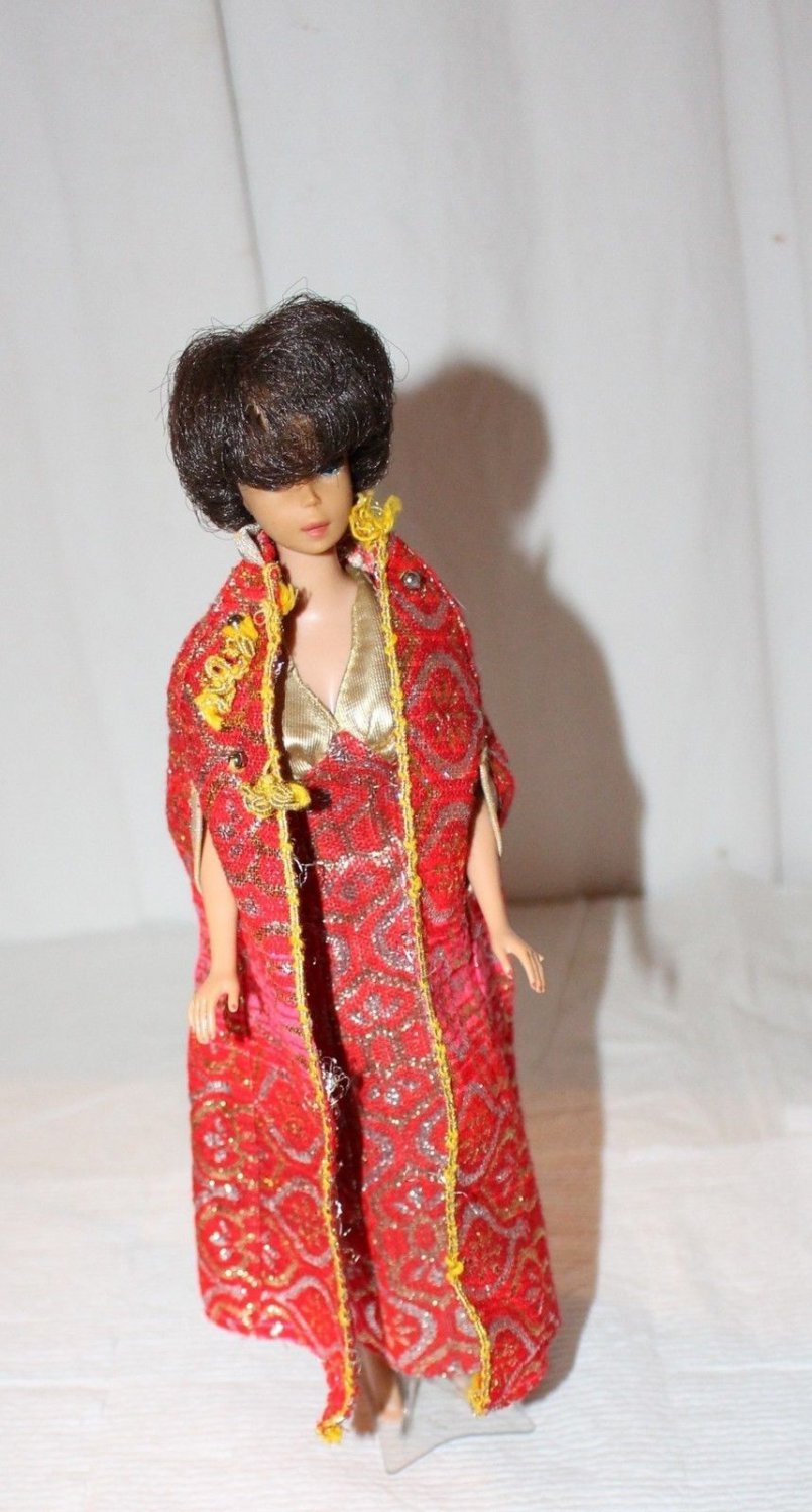 Vintage Barbie Clone 2 Piece Evening Gown and Long Cape Gold Red Lame