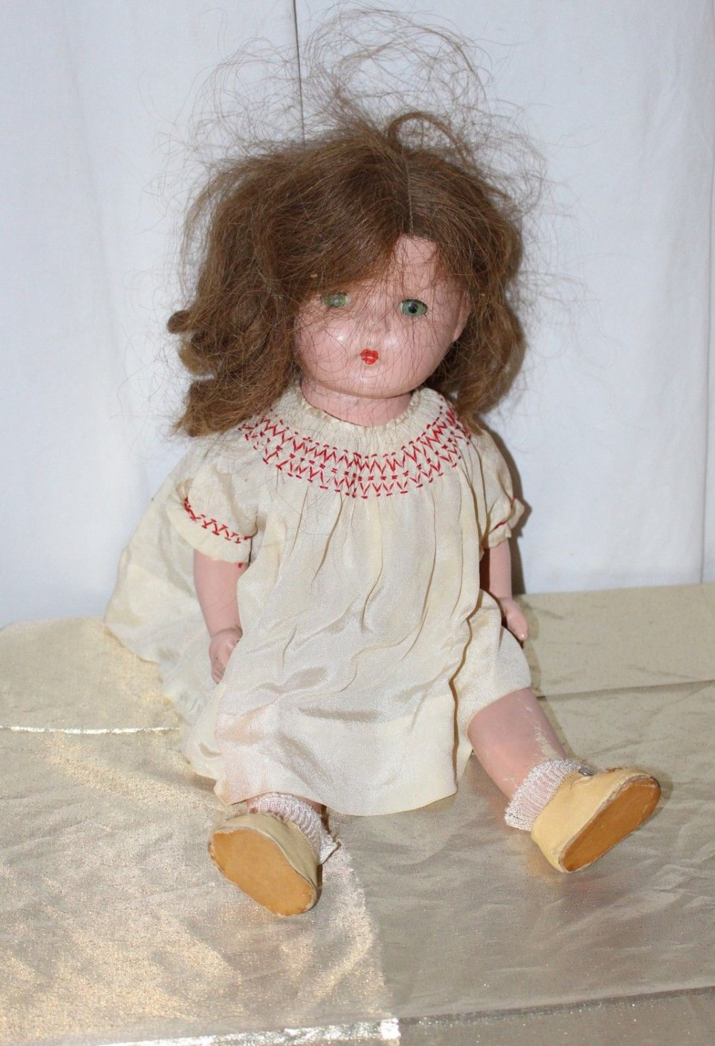 """Vintage American Character Petite Sally Doll 16"""" Front Snap Oil Cloth Shoes"""