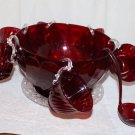 Vintage Toy Punch Bowl Ruby Red Hanging Cups Ladle Underplate Nice