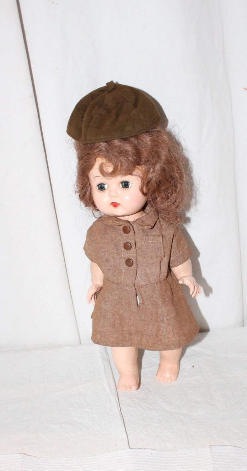 "VINTAGE 10""DOLL DRESSED IN BROWNIE SCOUT UNIFORM block Doll Corp."