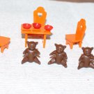 Dollhouse Miniatures 3 Bears Set Table Chairs Bears Porridge
