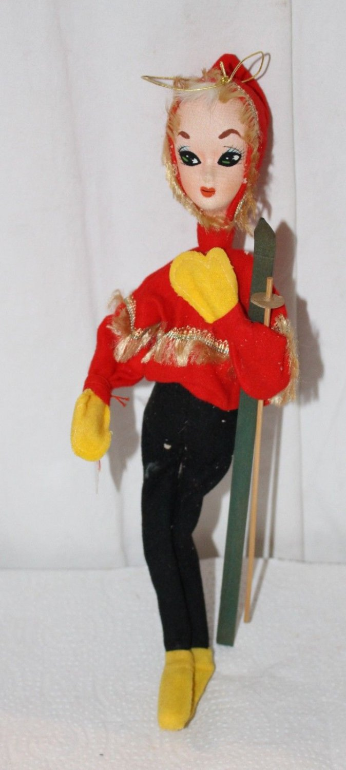 Vintage Wide Eyed Posable Doll Holiday Fair Japan Tags Excellent - Skier