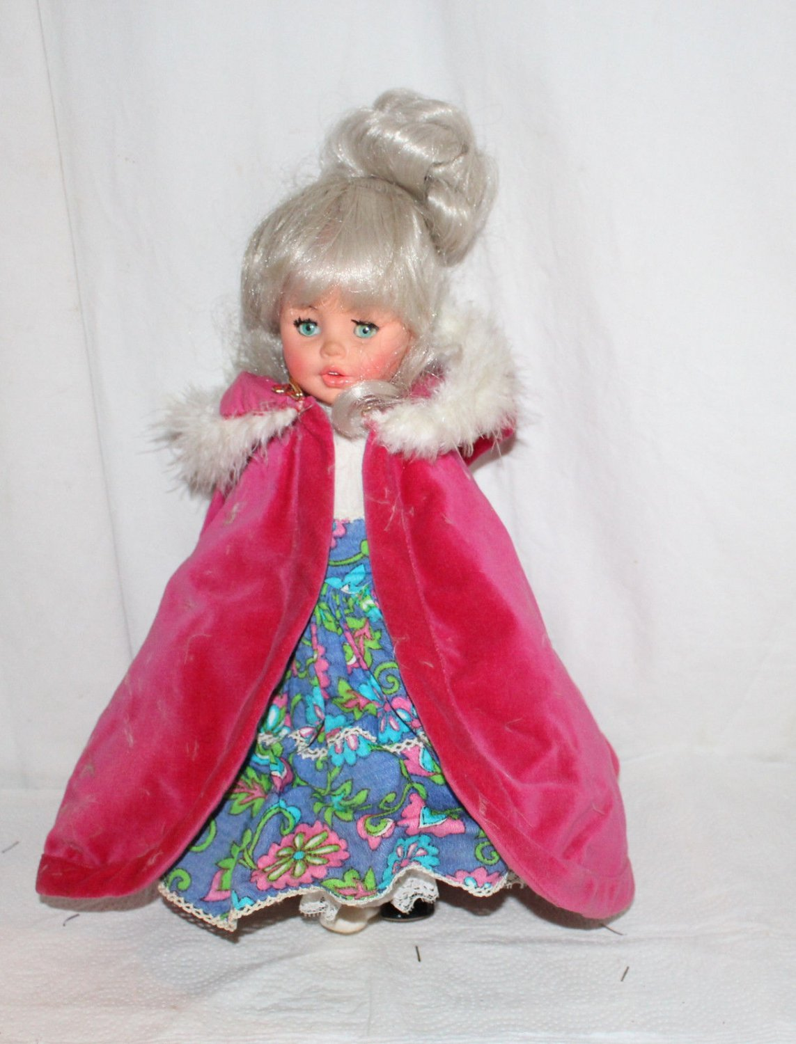 "VINTAGE FURGA DOLL 13"" TALL FLORAL DRESS WITH PINK VELVET CAPE FUR TRIMMED"