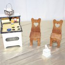 Dollhouse Stove and 2 Chairs for a Country Kitchen Handmade for a Diorama